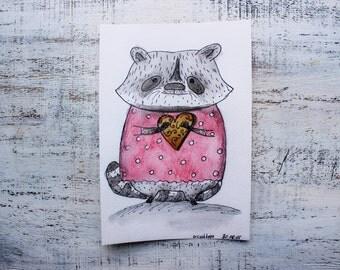Original watercolor painting 5x8' watercolor nursery art girl raccoon cookie
