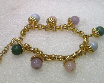 """Vintage Gold Tone Hardstone Capped Beaded Charm Bracelet, 7.5"""" with 2"""" extender chain"""