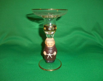 """One (1), 6 3/8"""" Friar Tuck, Wine Glass, from Goebel's of West Germany."""