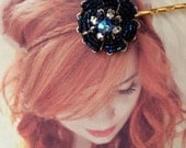 Decorative Hair Pin Jewelry 1940's Beaded Marine Navy Blue Flower Bobby Pin