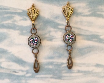 1920's Damascene Mosaic Earrings, Italian Grey Micro Mosaic Dangles