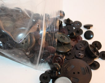 Vintage Lot of Over 450 Black Colored Buttons, Buttons Vary In Shape and Size, Round and Shank Buttons-Great For Sewing Crafts, Supplies