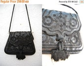 SALE Vintage Black Leather Embroidered Tassel Bag Scalloped Small Size