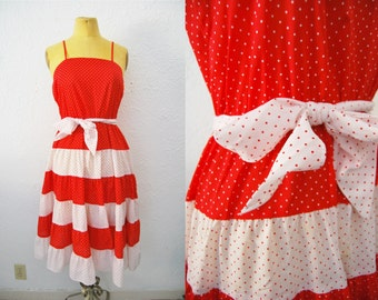 Vintage 70s Red White Polka Dot Cotton Gauze Ruffle Tiered Dress Summer