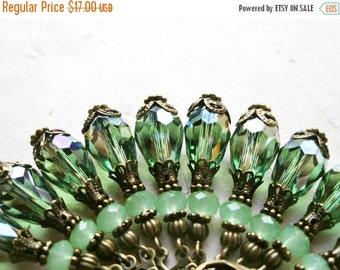 Green Crystal Earrings. Peridot and Jade Short Teardrop Earrings. 1920's Inspired Flapper Jewelry with Bronze Filigree. Green Drop Earrings.