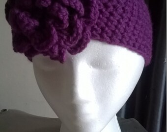Ladies/girls headband, purple with flower