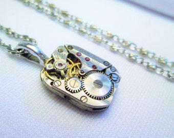 STEAMPUNK Necklace Vintage RUSSIAN Wristwatch Movement Rubies Rectangle SILVER Guilloche Engrave Etch Stripe Damaskeen by DKsSteampunk