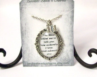 Pride and Prejudice Quote Necklace. Jane Austen Pendant Necklace, You Must Allow Me, Literary Necklace