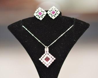 L@@K, Ladies, Antique, Vintage, 18K, White, Gold, Ruby, Diamond, Earrings, Necklace, Set