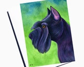 Watercolor Schnauzer Card Watercolor Dog Card Blank Greeting Card Set With Envelope All Occasion Card Watercolor Card Dog Note Card
