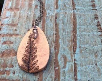 Bronze fern necklace / labradorite stones