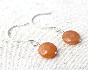 Orange Quartzite Stone and Sterling Silver Handcrafted Earrings / Handmade Jewelry / Stone Earrings / E123
