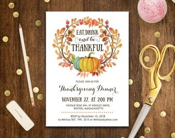 Thanksgiving Invitation Printable Eat Drink and Be Thankful Invite Fall Pumpkin & Wreath Invite Instant Download DIY Template EDITABLE PDF