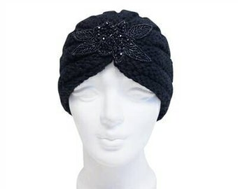 Black Beaded Knit Turban