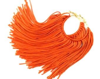 Orange Fringe Hoops