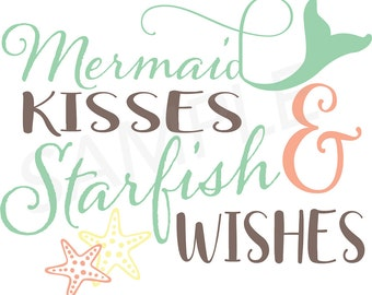 Mermaid Kisses SVG Cut File - Instant Download