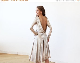 Light Gold backless midi dress with long sleeves, Open back midi light gold gown with long sleeves 1095