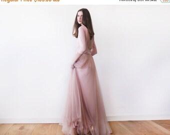 Blush pink maxi tulle dress, Bridesmaids blush maxi gown, Backless maxi pink formal dress