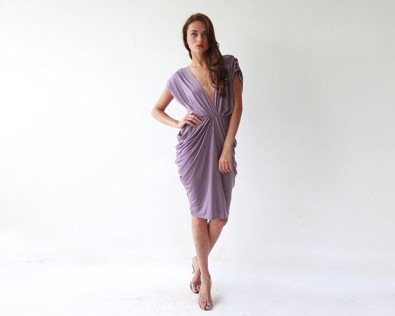 Short bridesmaids purple dress , Knee length formal dress
