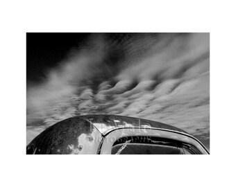Pickup Truck, Cool Clouds, Scrap Yard, Black and White Photo, Junkyard, Modern Art, Contemporary Decor