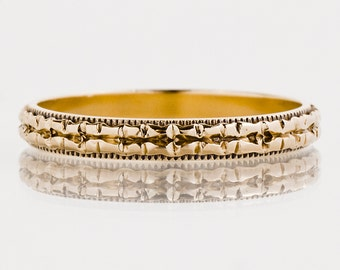 Antique Wedding Band - Antique 14k Yellow Gold Etched Eternity Band