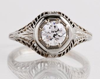 Antique Engagement Ring - Edwardian Engagement Ring - Antique Edwardian 18k White Gold and Diamond Filigree Engagement Ring