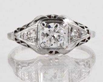 Antique Engagement Ring - Antique 1920s 14k White Gold Diamond Filigree Engagement Ring