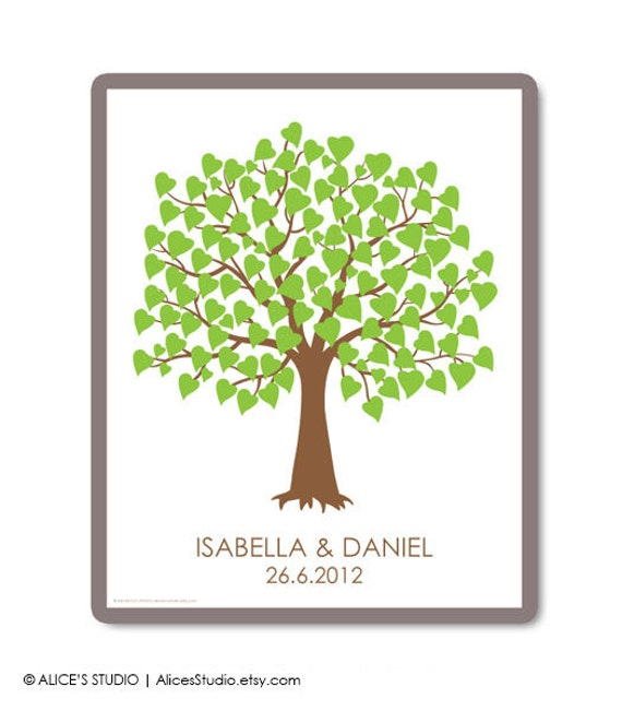 DIY Printable Wedding Tree Family Tree Guest Book - Wedding Registry - 16 x 20 inch - Up to 100 Fingerprints & Signatures - PDF Poster