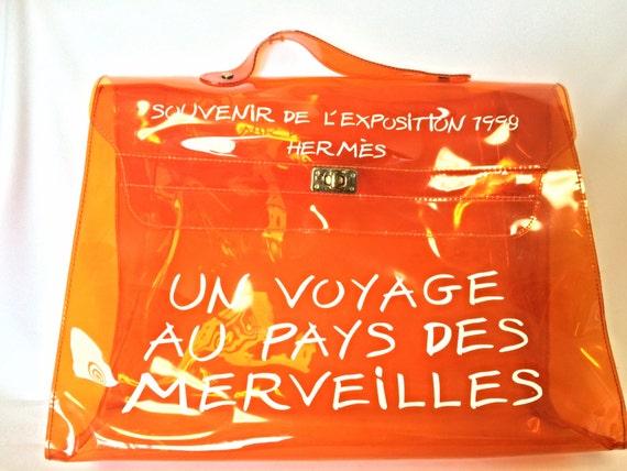 hermes messenger bags - Vintage Hermes a rare transparent orange vinyl Kelly by eNdApPi