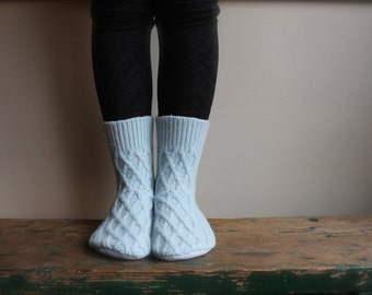 Women's Felted Wool Slippers, Wool slippers, Women's slipper sock,Cable Knit Slipper