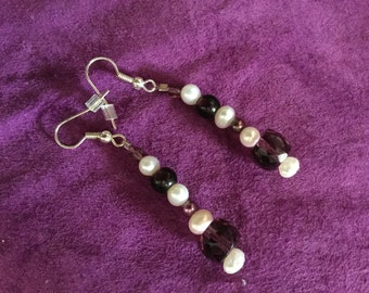earrings made of antique amethyst with freshwater pearls