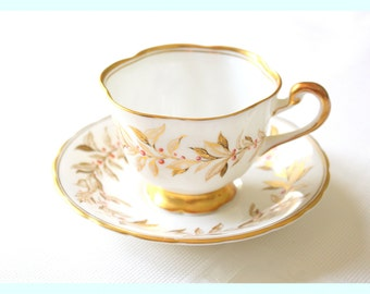 Vintage, English Bone China Tea Cup and Saucer by Royal Chelsea, Almond Willow Pattern, Replacement China Gifts for Her
