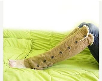 20%SALE Leg warmers,boot socks,button leg warmers, boot warmers,lace socks,sock, brown warmers