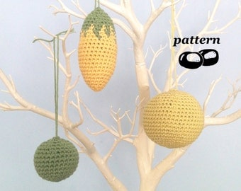 Crochet Ornament Patterns Autumn Fall Christmas Decorations Ornaments Crochet Pattern Modern Minimalist Sphere Ball Twig Tree