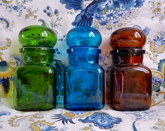Vintage Set of 3 BUBBLE TOP JARS, Small Sized Glass Jars, Contains 0.2 Liter.