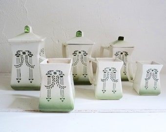 Antique French PITCHER SET of 6, Art Deco. Vintage Kitchen Decor, Ceramic Kitchen Organizers. Green Geometric Pattern. Stamped Chauvigny.