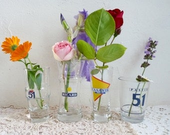 Vintage Collection of French PASTIS and RICARD Glasses, 4 original, different Bistro Glasses.