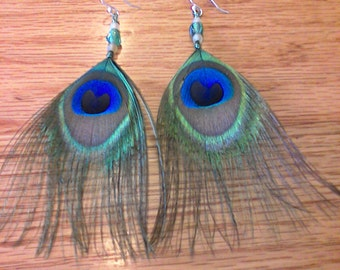 Cruelty-Free Beaded Peacock Feather Earrings with Silver Plated Ear Wire for sensitive ears