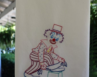 Hand Embroidered Tea Towel Dish Towel ~ Clown