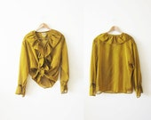 Ruffle Shirt / Golden Yellow Blouse / Romantic Ruffled Top / Mustard Yellow / Large