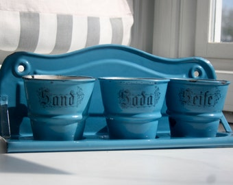 Very Beautiful Antique German Laundry Set, Enamelware, Blue, Sand, Soda, Seife