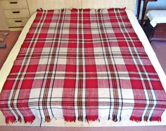 Vintage wool blanket Traditional Bulgarianhand woven textile from Rhodope region 1960