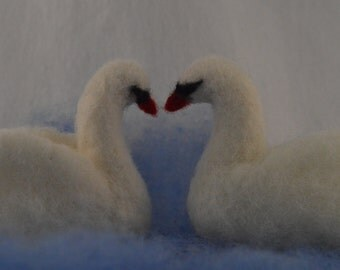 Two white Swans, 3 inches each, needle felted, for nature table of wedding gift