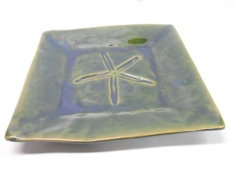 Pottery Starfish Platter Ceramic Platter Medium Square Plate Pottery Plate Green Platter with Starfish Impression Medium in Green