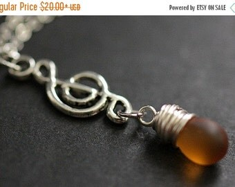BACK to SCHOOL SALE Clouded Amber Teardrop Necklace. Musical Note Necklace. Treble Clef Necklace. Music Necklace in Silver. Handmade Jewelle