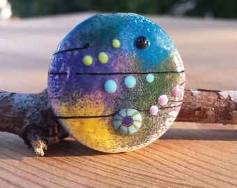 Lampwork Glass Organic Focal Bead decorated with enamels in blue, pink, yellow, green and purple