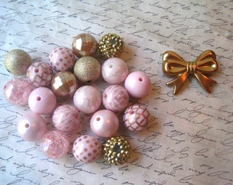 Pink and Gold Necklace Kit, Chunky Gumball Bead Kit, Gold Beads, Pink Beads, Bubblegum Necklace Kit, Hardware Included, DIY Jewelry