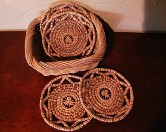 Beautiful Handcrafted Pine Needle Coasters, Set of 4, Vintage
