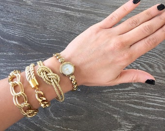 Arm candy set - Chunky chain and Silk Bracelets - stackable - Fashion Stacked Bracelet Set