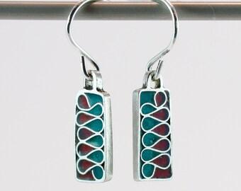 Silver plique a jour enamel, stained glass earrings, rectangle drops